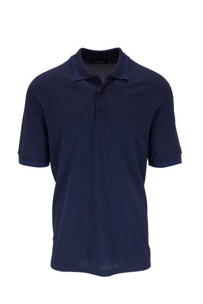 Ermenegildo Zegna - Blue Cotton & Silk Short Sleeve Polo