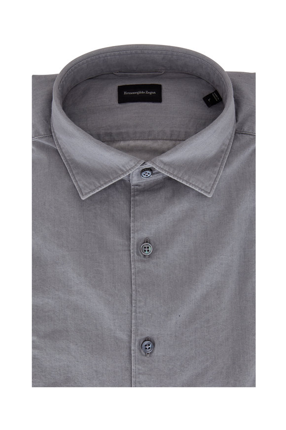 Ermenegildo Zegna Light Gray Tailored Fit Sport Shirt