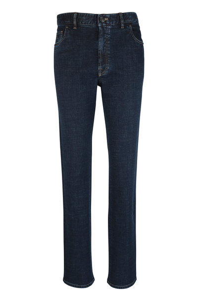 Brioni - Dark Blue Stretch Straight Fit Jean