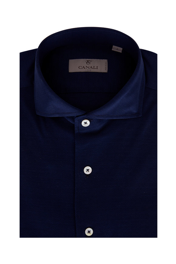 Canali Navy Blue Herringbone Sport Shirt