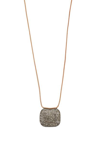 Tulah Jem - Yellow Gold & Leather White Diamond Pendant