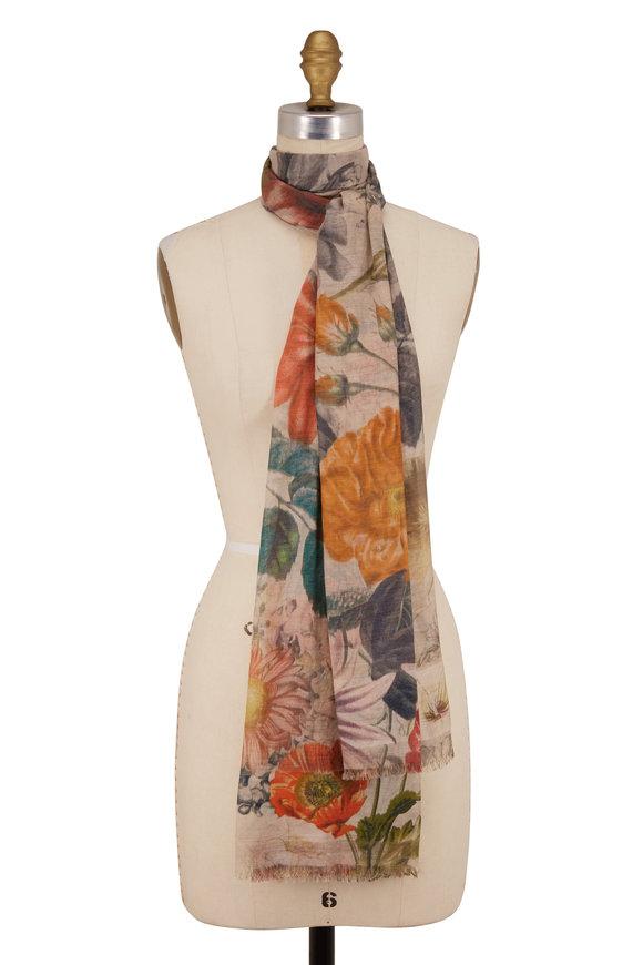 Faliero Sarti Ivory Silk & Cotton Floral Print Scarf
