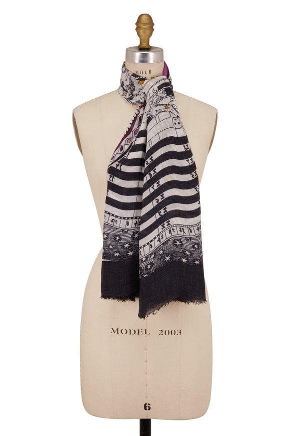Faliero Sarti Black Constellation Print Scarf