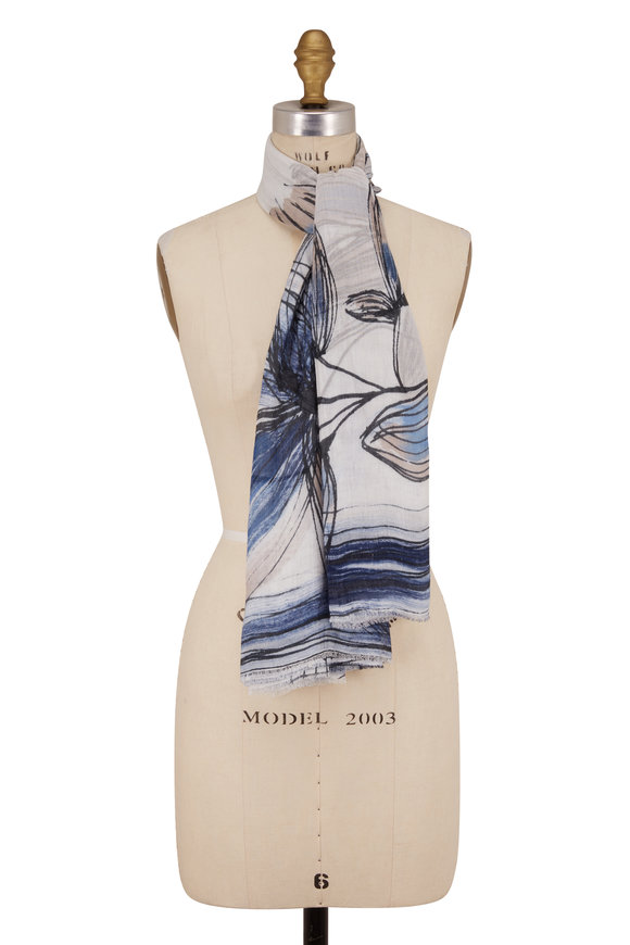 Faliero Sarti Evelyn Navy & Cream Lurex Drawn Floral Print Scarf