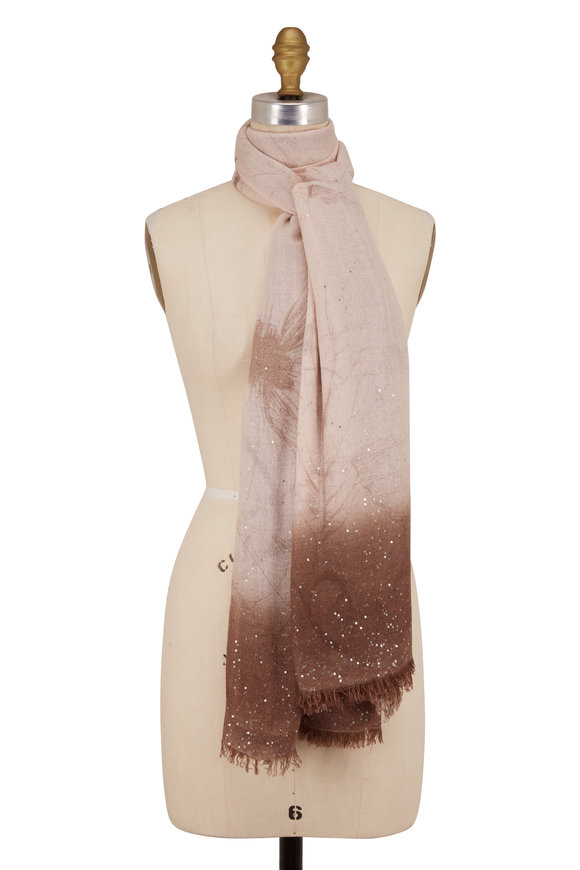Faliero Sarti Brown Faded Floral Piallette Boarder Scarf
