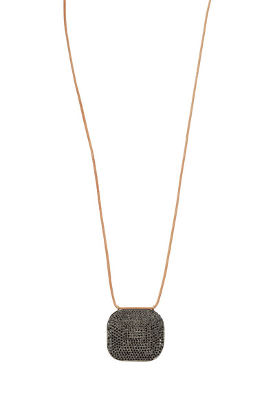 Tulah Jem - Gold & Leather Black Spinel Pendant