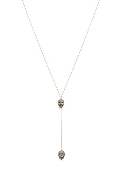 Tulah Jem - Yellow Gold Pavé-Set Diamond Skull Lariat Necklace
