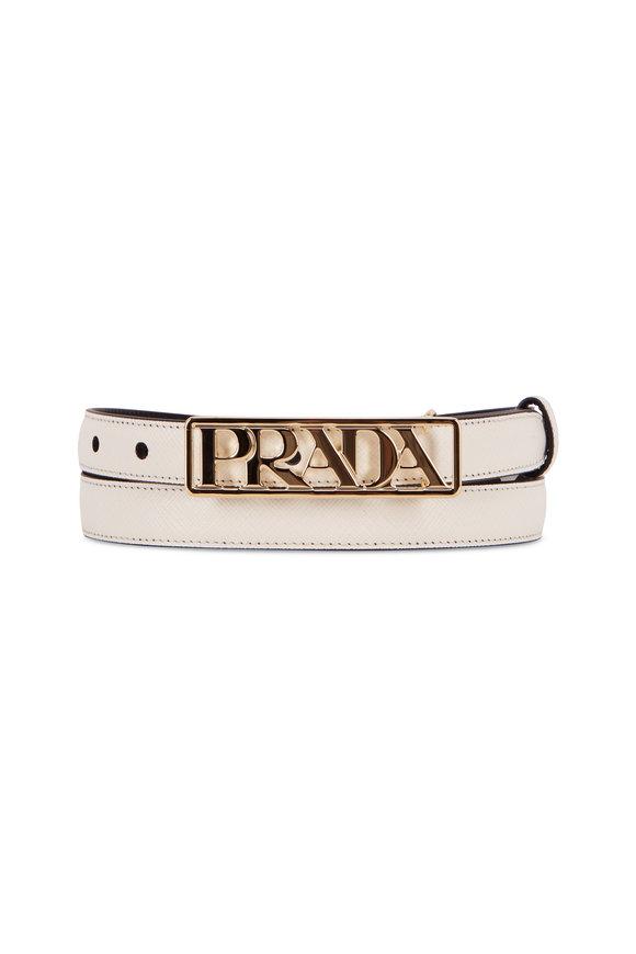 Prada White Saffiano Gold Logo Waist Belt