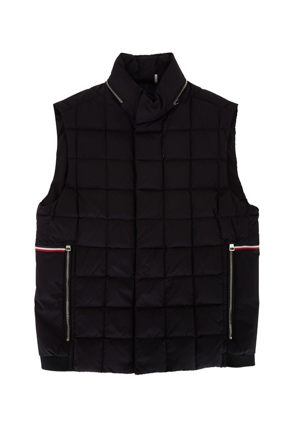 Moncler Black Hooded Quilted Down Vest