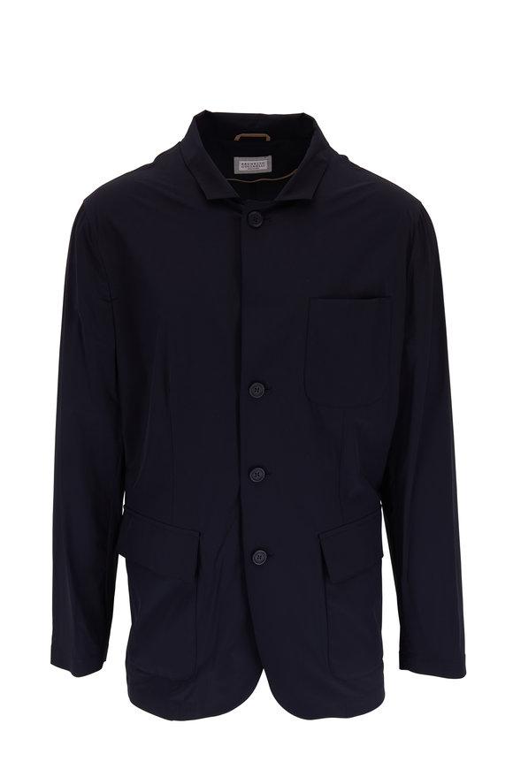 Brunello Cucinelli Navy Nylon Front Button Jacket