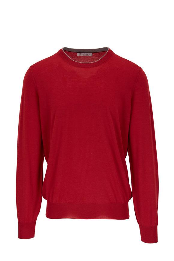 Brunello Cucinelli Red Wool & Cashmere Crewneck Pullover