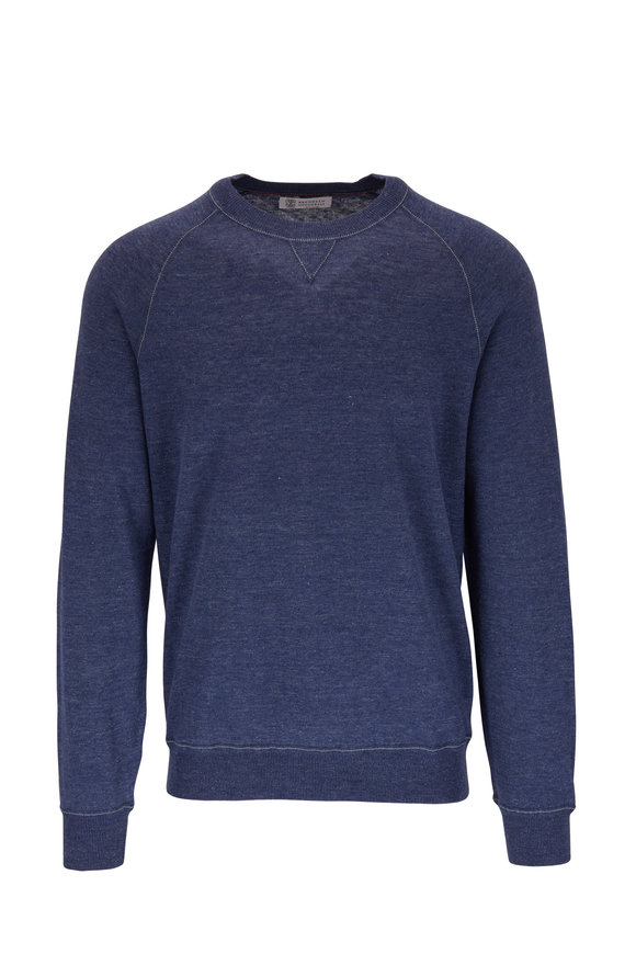 Brunello Cucinelli Blue Linen & Cotton Raglan Sleeve Pullover