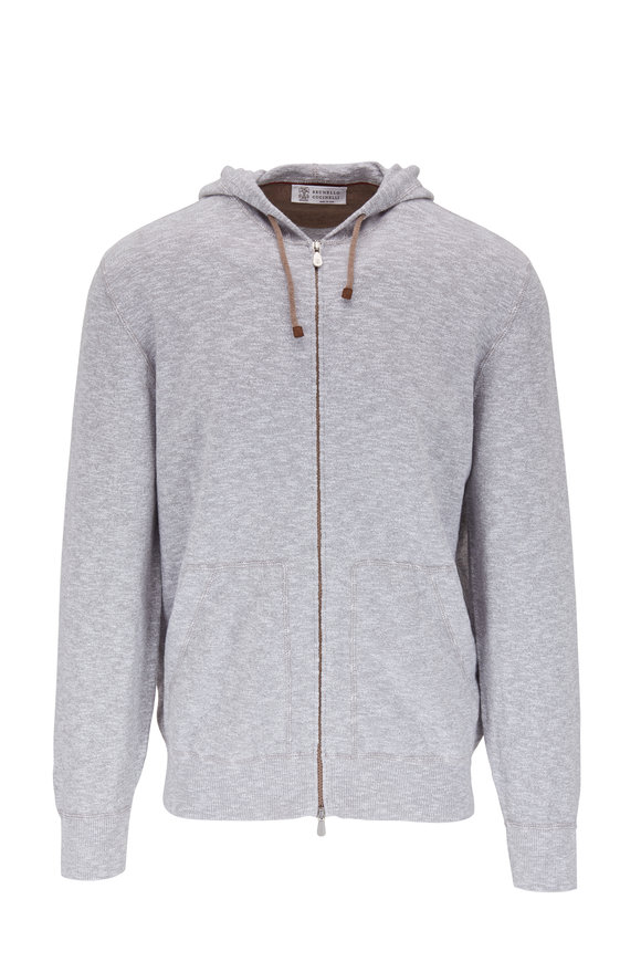 Brunello Cucinelli Gray Heather Front Zip Hoodie