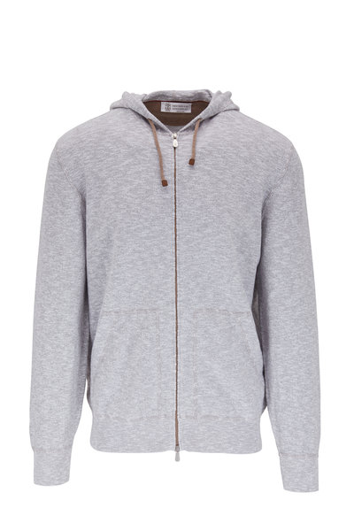 Brunello Cucinelli - Gray Heather Front Zip Hoodie