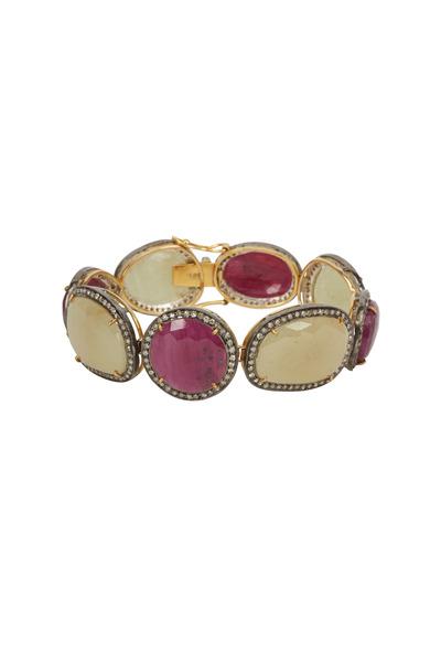 Loren Jewels - Gold & Silver Sapphire & Ruby Diamond Bracelet