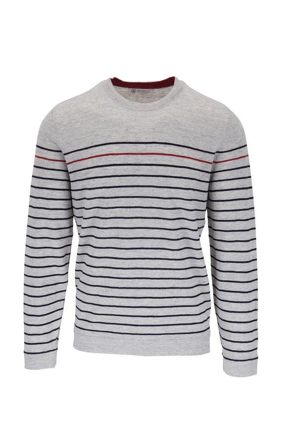 Brunello Cucinelli Gray Stripe Linen & Cotton Pullover