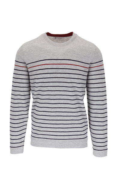 Brunello Cucinelli - Gray Stripe Linen & Cotton Pullover