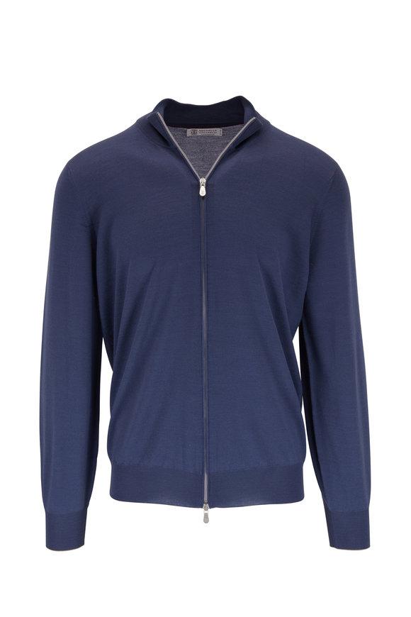 Brunello Cucinelli Blue Wool & Cashmere Front Zip Cardigan