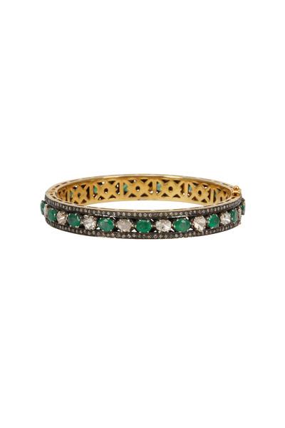 Loren Jewels - Gold & Silver Emerald Diamond Bangle Bracelet