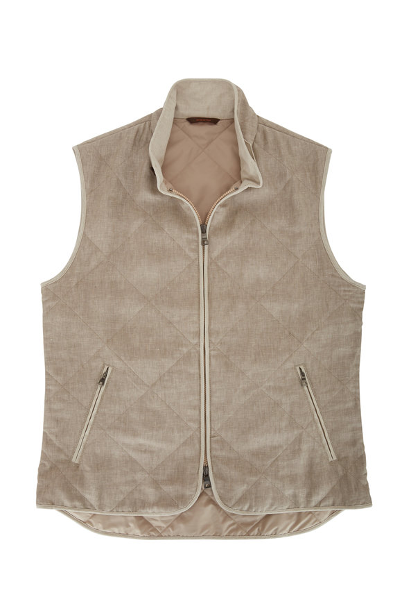 Waterville Natural Linen Front Zip Quilted Vest