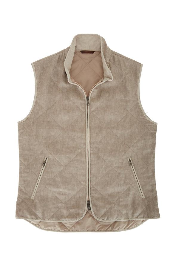 Waterville Natural Linen Front Zip Quilted Vest