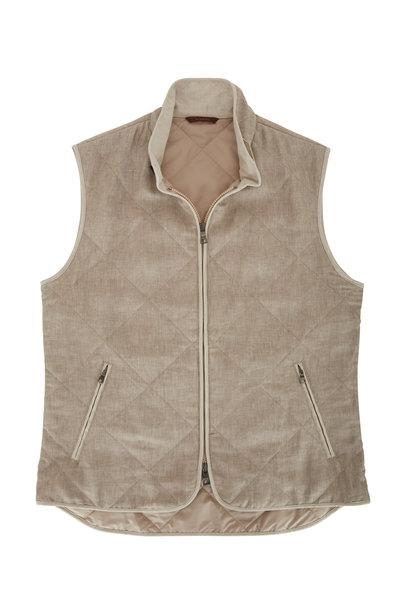 Waterville - Natural Linen Front Zip Quilted Vest