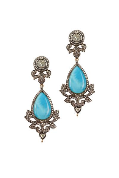 Loren Jewels - Gold & Silver Turquoise & Diamond Earrings