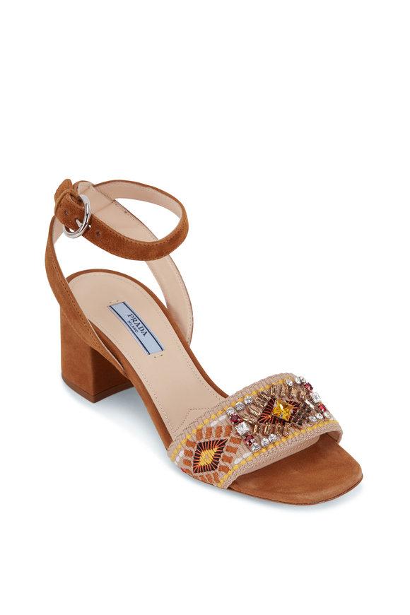 Prada Cognac Embroidered & Beaded Band Sandal, 55mm