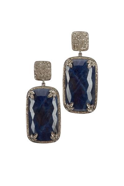 Loren Jewels - Sterling Silver Blue Sapphire & Diamond Earrings