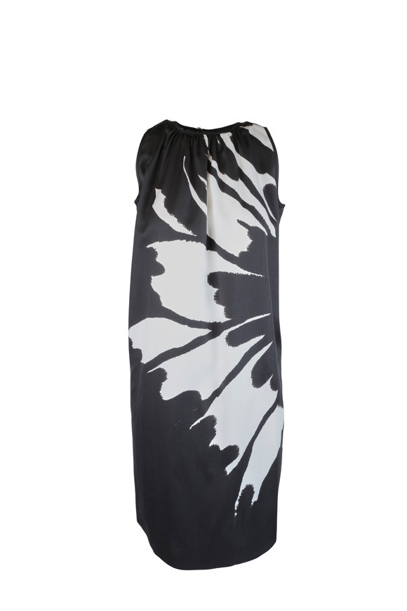 Kiton Black & White Floral Sleeveless Sheath Dress