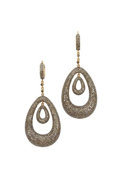 Loren Jewels - Gold & Silver Double Loop Diamond Earrings