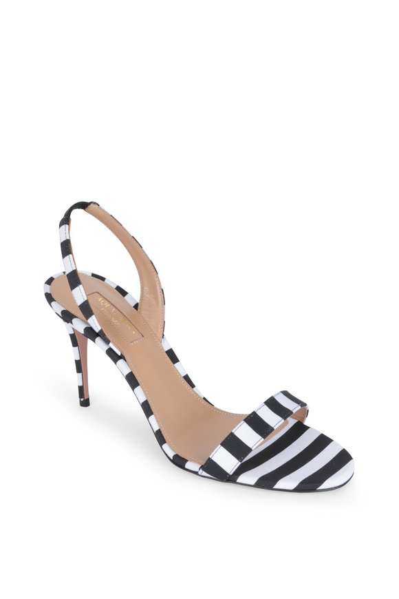 Aquazzura Black & White Grosgrain Slingback Sandal, 85mm