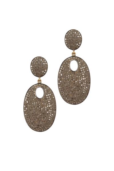 Loren Jewels - Gold & Silver Pavé-Set Diamond Earrings