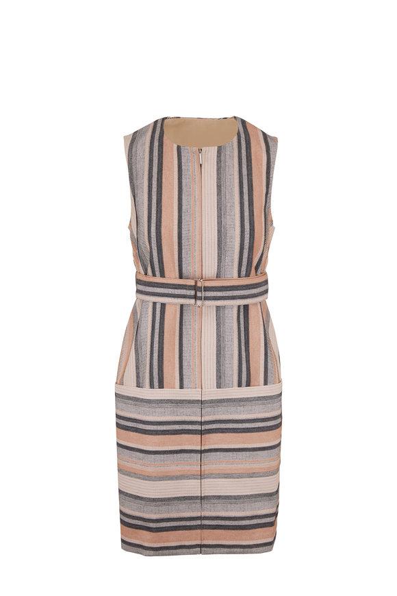 Rosetta Getty Multicolor Stripe Front Zip Sleeveless Shift Dress