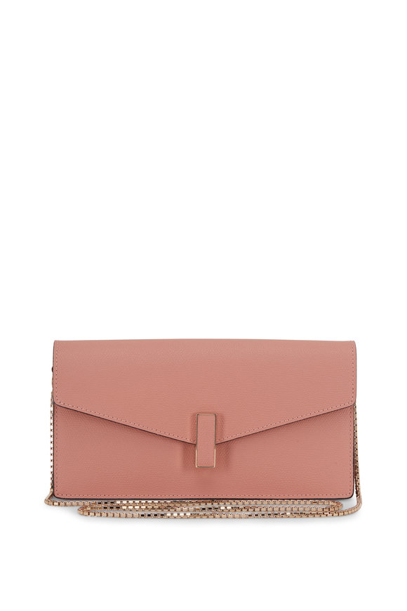 Valextra Iside Pink Rosa Polvere Saffiano Chain Clutch