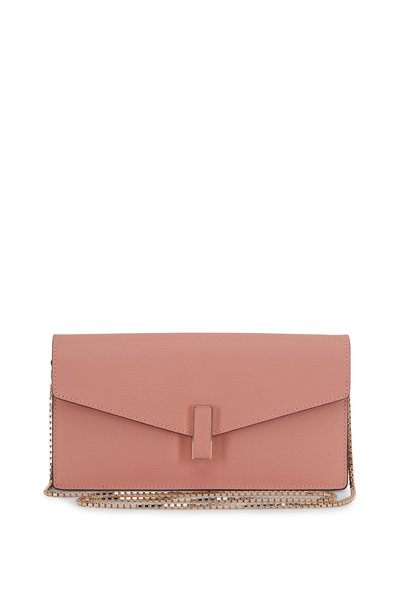 Valextra - Iside Pink Rosa Polvere Saffiano Chain Clutch