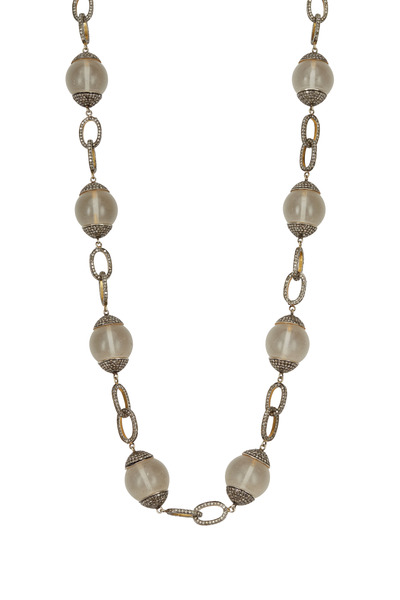 Loren Jewels - Silver Frosted Crystal Quartz Diamond Necklace