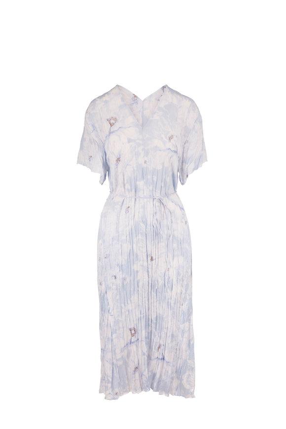 Vince Powder Blue Painted Magnolia Short Sleeve Dress