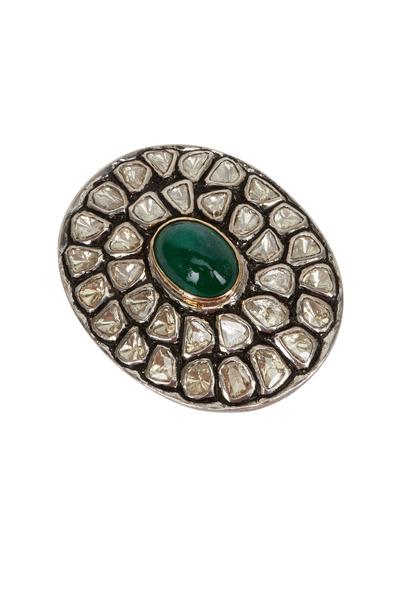 Loren Jewels - Gold & Silver Emerald & Diamond Ring