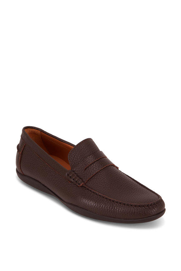 Harrys of London Basel Dark Brown Tumbled Leather Loafer