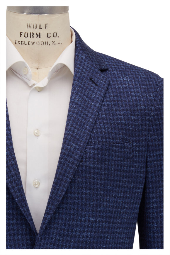 Maurizio Baldassari Navy Blue Houndstooth Wool Sportcoat