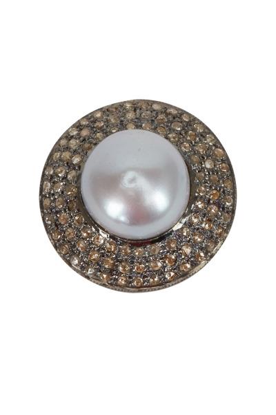Loren Jewels - Pave, Diamond, & Pearl Ring