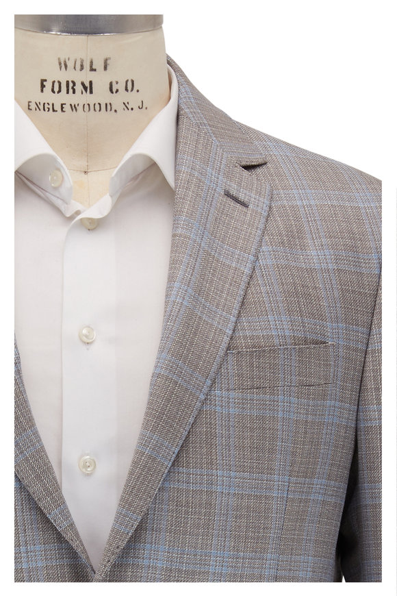 Maurizio Baldassari Light Gray & Light Blue Plaid Wool Sportcoat