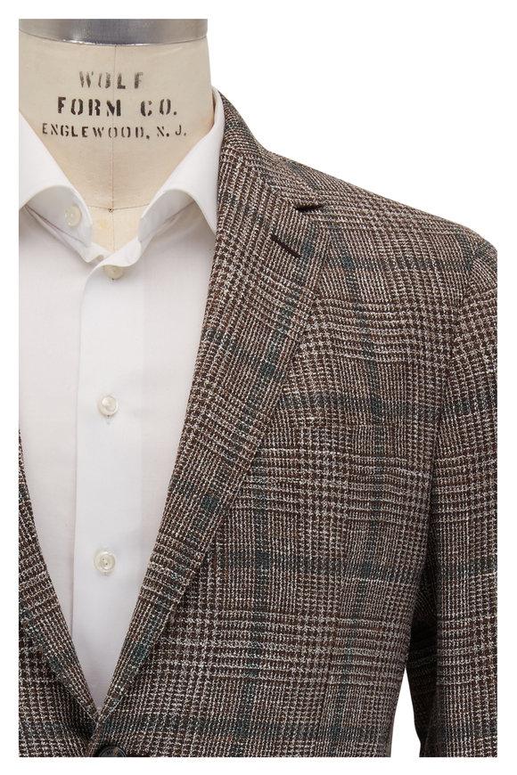Maurizio Baldassari Brown & Green Windowpane Wool Sportcoat