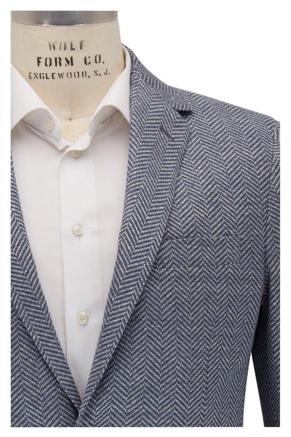 Maurizio Baldassari Blue Herringbone Linen Blend Sportcoat