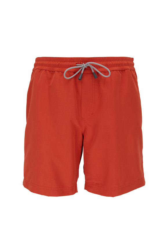 Brunello Cucinelli Solid Orange Swim Trunks
