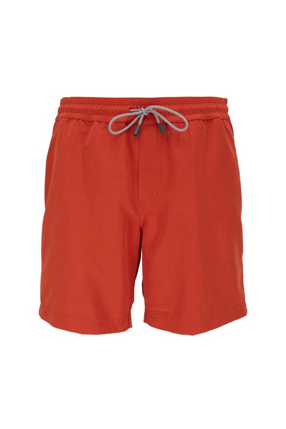 Brunello Cucinelli Solid Orange Swim Trunks
