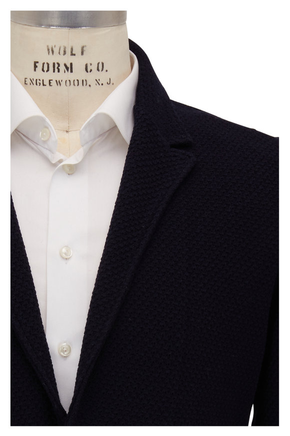 Maurizio Baldassari Navy Wool Bouclé Knit Jacket