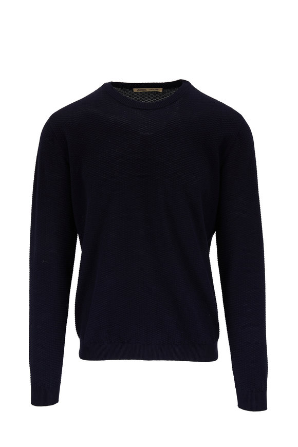 Maurizio Baldassari Navy Bubble Stitch Cotton Crewneck Pullover