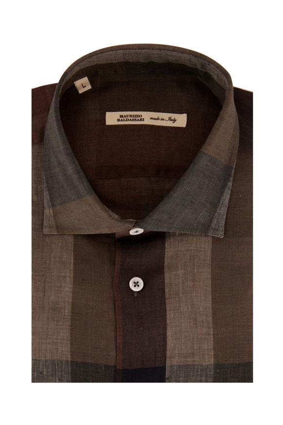 Maurizio Baldassari Olive & Brown Plaid Linen Sport Shirt